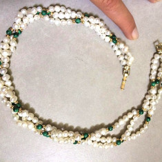 Colier dama VINTAGE verde,pietre semipretioase, PERLE de cultura