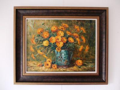 "Ion DOBOSARIU, ""Vas cu flori"", ulei/carton pictat in relief foto"