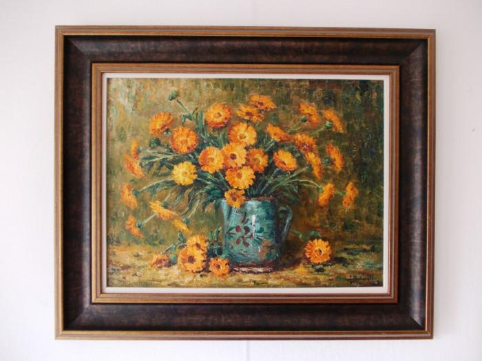 "Ion DOBOSARIU, ""Vas cu flori"", ulei/carton pictat in relief"