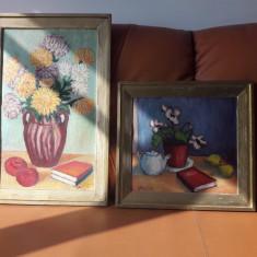 Tablouri, Flori, Acuarela, Art Deco