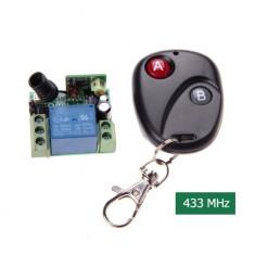 kit releu cu telecomanda 12v radio wireless 10A 220v cu invatare