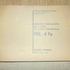 NOTITA TEHNICA -REMORCA BASCULANTA DE 4 TONE CU FRANA PNEUMATICA RBL-4 Fp