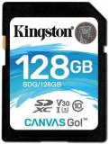 Card de memorie Kingston Canvas Go, SDXC, 128 GB, 90 MB/s Citire, 45 MB/s Scriere, Clasa 10 U3 V30I