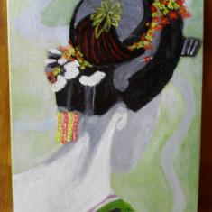Gheisa-pictura ulei pe placaj;