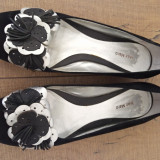 Pantofi piele, 36.5, Negru, Cu talpa joasa