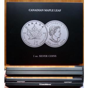 Cutie lemn ,  21 monede din argint fin de 925 ; 23,33 grame , dolari canadieni