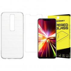 Set Husa Ultra Slim Upzz Transparenta Si Folie Sticla Securizata Wozinsky Pentru Huawei Mate 20 Lite