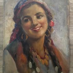 Cap de tiganca// ulei pe carton, Samuel Bogdanovici