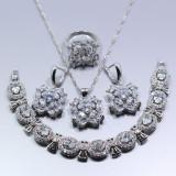 Set bijuterii argint 925 in forma de floare culoarea alba