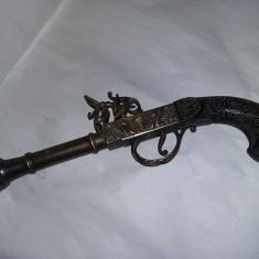 Pistol vechi masiv alama/bronz,pistol de panoplie tip antic,Transp.GRATUIT