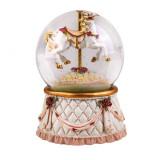 Glob de sticla cu zapada artificiala, 100 mm, figurina calut