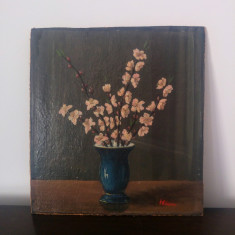 Natura statica, vaza cu flori// ulei pe carton PFL, semnat R. Mihaescu, Arbori, Altul