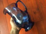 Veche Carafa din sticla culoare si model deosebit / albastru !
