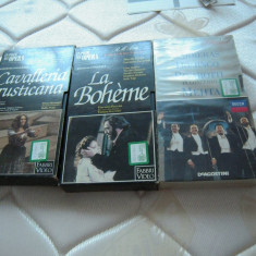 LOT de 3 Casete video VHS originale cu opere si tenori celebrii, prov.  Italia