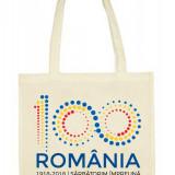 Sacosa bumbac personalizata Centenar Romania-100 ani, Bej, Marime universala