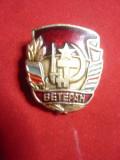 Insigna Veteran de Razboi URSS ,metal si email , h=2,7cm