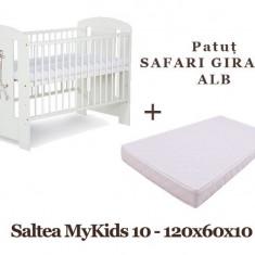 Patut KLUPS Safari Giraffe Alb + Saltea MyKids Basic II 10cm