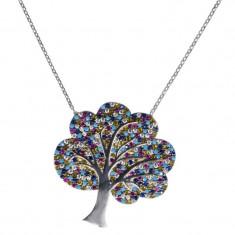 Lant argint 925 cu pandantiv Tree Of Life Multicolor