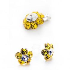 Set floare - cercei mici cu tija si pandantiv mare