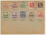 Ungaria Serbia 1919 10 timbre sursarj local Baranya anulate pe plic la Pecs