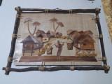 Decoratiune lemn pe panza