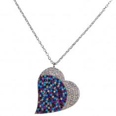 Lant argint 925 cu pandantiv Multicolour Heart