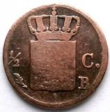 RAR ! OLANDA , Willem I , 1/2 CENT 1822 B , B= Brussels mint, Europa