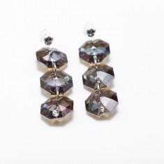 Cercei octogon cu trei cristale, cu tija