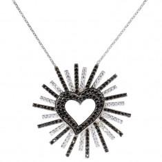 Lant argint 925 cu pandantiv Shiny Heart Black&White
