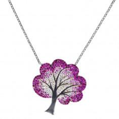Lant argint 925 cu pandantiv Tree Of Life Fuchsia