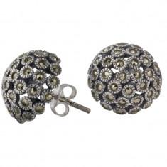 Cercei argint 925 Semisphere cu marcasite