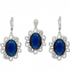 Set argint 925 mare cu piatra albastra si zirconii