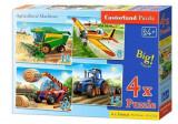 Puzzle 4 in 1 - Masinarii de ferma, 55 piese, castorland