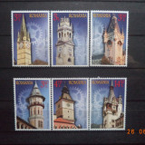 2014  Romania LP - 2041  Turnurile timpului, turnuri cu ceas  serie completa**, Arhitectura, Nestampilat