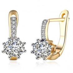 Trendy crystal, cercei placati cu aur de 18 k