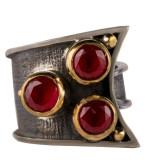 Inel dama argint 925 Vintage cu zirconii rosii