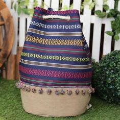 Rucsac textil Etnic , Material 35% Bumbac si 65% Poliester cu maner tip sfoara din bumbac .Dimensiuni produs : 45x44cm , Diametru baza 28 cm