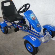 Kart copii cu pedale F100B,roti cauciuc,frana de mana,scaun reglabil varsta 3-6, 4-6 ani, Unisex, Bleu