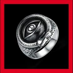 Inel masiv otel inoxidabil ochiul Diavolului punck biker satanic marimea 10