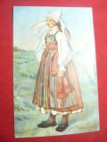 Ilustrata -Costum Popular Suedez -Piesa de Autor circulat 1927 la Bucuresti