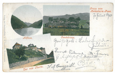2315 - TURNU ROSU, Sibiu, Litho, Romania - old postcard - used - 1900 foto