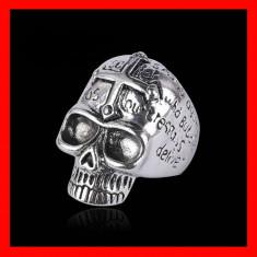 Inel masiv craniu cu mesaje si cruce frontala marimea 10