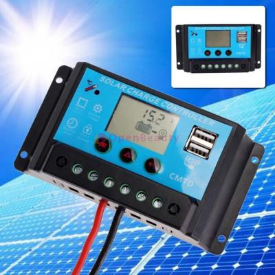 regulator solar lcd usb incarcare panouri solare fotovoltaice 12v/24v 30A foto