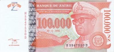 Bancnota Zair 100.000 Nouveaux Zaires 1996 - P77 UNC foto