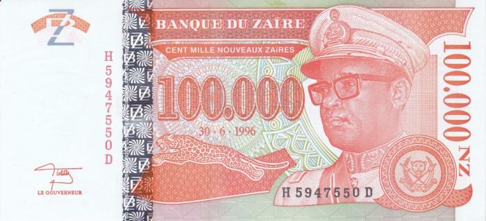 Bancnota Zair 100.000 Nouveaux Zaires 1996 - P77 UNC