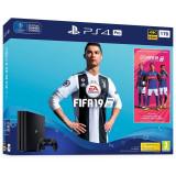 Consola Sony Playstation 4 PRO, 1 TB, Negru plus Joc FIFA 19 si voucher 14 days PS PLUS