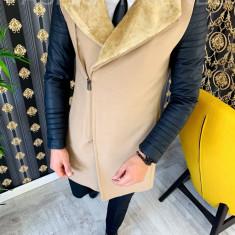 Palton pentru barbati, bej cu maneci de piele - LICHIDARE DE STOC - 9691