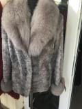 Blana Nurca Argintie Cu Guler De Vulpe