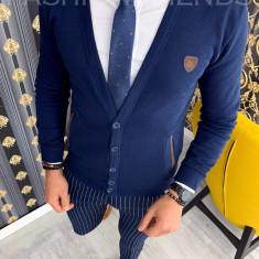 Bluza fashion barbati bleumarin - COLECTIE NOUA 9890 F3, L, M, S, XL, La baza gatului, Bumbac