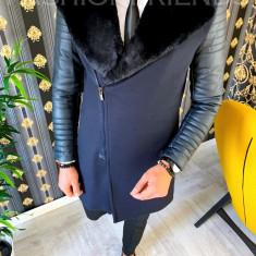 Palton de iarna - pentru barbati, bleumarin cu maneci de piele - 9698